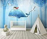 YUANLINGWEI Benutzerdefinierte Wandbild Tapete Niedlichen Cartoon Boy Und Wal Tier Wald Muster Kinderzimmer Wand Dekoration Wandbild Tapete,250Cm (H) X 330Cm (W)