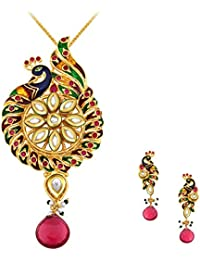 Spargz Antique Party Wear Gold Plated Kundan Peacock Pendant Set For Women AIPS 282