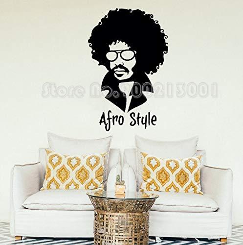xiaoshuaige Friseur Wandaufkleber Afro Stil Stilvolle Mann in Brille Gesicht Dekoration Für Haar Shop Vinyl Kunst42X64 cm