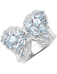 Johareez 3.75cts Blue Topaz Silver Ring for Women