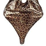 KENROLL Damen Lingerie Dessous Leder Lack Negligee Clubwear Partykleid (0040-Leopard)