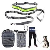 mioim Hunde Joggingleine Sport Laufgürtel mit Reflektierendem Bauchgurt für Hunde bis 60kg super zum Laufen, Joggen, Wandern Grau