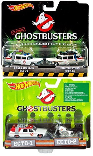 Ghostbusters Hot Wheels 4 Car Set Twin Pack EXCLUSIVE Ecto-1, Ecto-1A, Ecto-2 Motorcyle Models by Ghostbusters