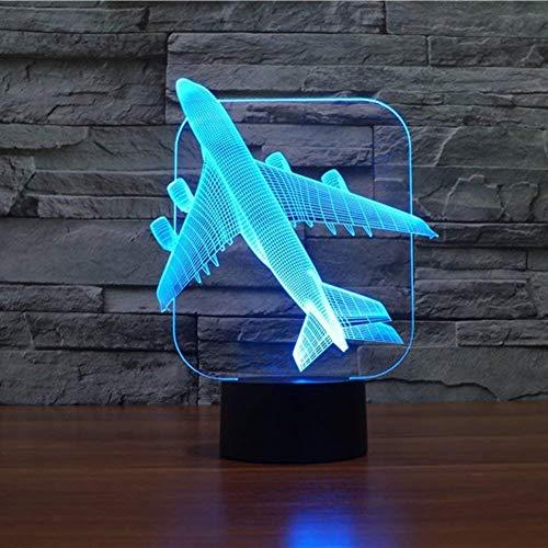 3D Flugzeug Illusions Lampen Tolle 7 Farbwechsel Acryl berühren Tabelle Schreibtisch-Nachtlicht mit USB-Kabel für Kinder Schlafzimmer Geburtstagsgeschenke Geschenk