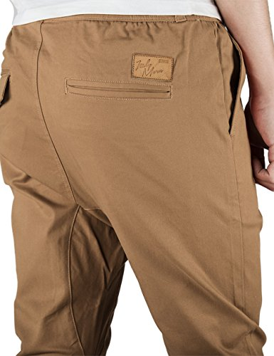 ITALY MORN Uomo Casual Chino Pantaloni Jogging Sport Slim Fit 20 colori Cachi Scuro