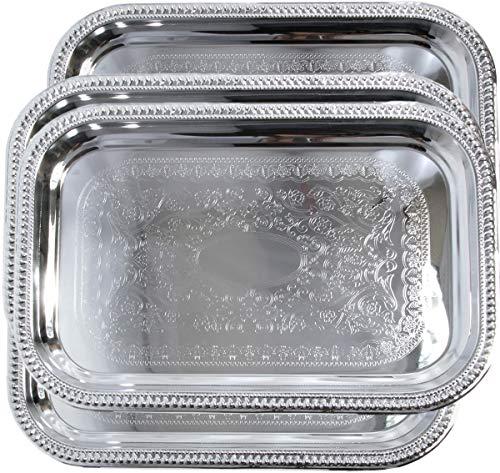 Maro Megastore (4er Pack) 46,3 cm x 31,4 cm Rechteckiges Schnittmuster Graviertes Catering Verchromter Servierteller Spiegel Dekotablett Teller Geschirr Partykost (mittel) T156m-4pk Trim Pack Fällen