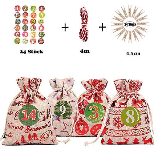 Adventskalender Stoffbeutel zum Befüllen, 24 Stoffsäckchen zum Selber Basteln und Aufhängen, Deko weihnachtskalender jutebeutel kette zum Selberfüllen, Zahlen Buttons von DIY-weihnachtssäckchen