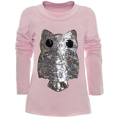 BEZLIT Mädchen Wende-Pailletten Long Shirt Bluse Pullover Langarm Sweat Shirt 21005 Rosa Größe 128