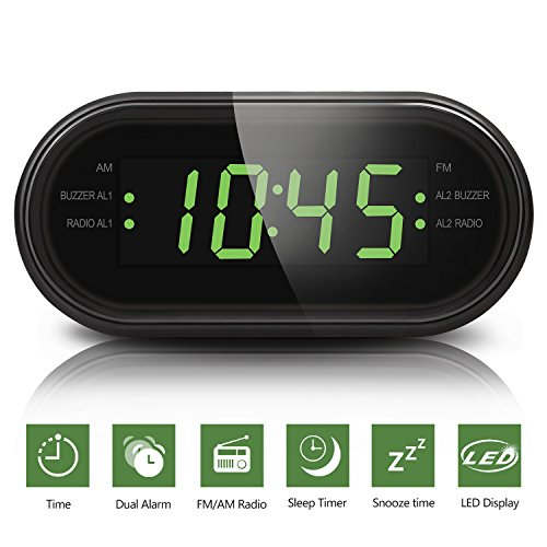 Digital AM FM Radiowecker, Digitaler Wecker Radio Uhr mit AM/FM-Radio, Doppelalarme, Snooze funktion, Nachtlicht-Funktion, Sleep-Timer,Led Display, Backup-Batterie für Arbeiter, Studenten