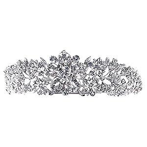 SEPBRIDALS Echte österreichischen Kristallen Strass Blume Tiara Krone Hochzeit Brautschmuck Haarschmuck Zubehör jha4714