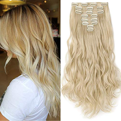 "TESS Clip in Extensions wie Echthaar Haarteile günstig Haarverlängerung 8 Tressen 18 Clips Haarteil Gewellt 17\""(43cm)-140g Blond"