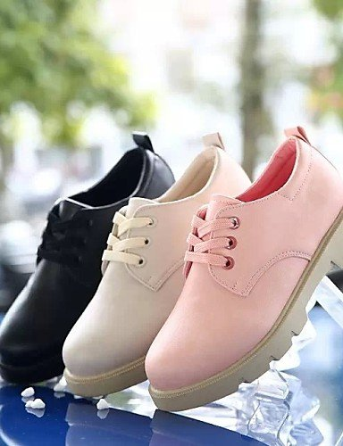 ZQ hug Scarpe Donna - Stringate - Casual - Punta arrotondata - Piatto - Finta pelle - Nero / Rosa / Beige , pink-us8 / eu39 / uk6 / cn39 , pink-us8 / eu39 / uk6 / cn39 black-us6 / eu36 / uk4 / cn36