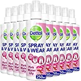 Dettol Spray and Wear Fabric Clothes Freshener Spray, Waterlily Fragrance, Pack of 10 x 250 ml
