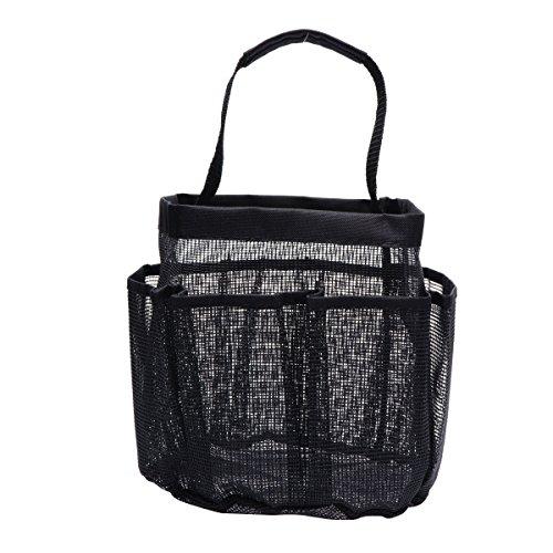BESTOMZ Badezimmer Tasche Duschcaddy mit 8 Mesh-Taschen Waschbeutel Oxford-Stoff Mesh-Aufbewahrungsbehälter (Schwarz)