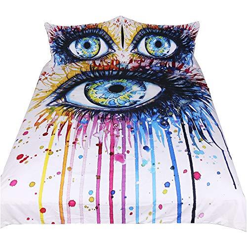 Suncloris Rainbow Fire durch Pixie Kalten Kunst, 3-Teiliges Betten Tabelle Sets, Charming Eye Bettbezug Set. Enthalten: 1Bettbezug, 2pillowcase Keine Tröster (Innen) Full Black,Multi -