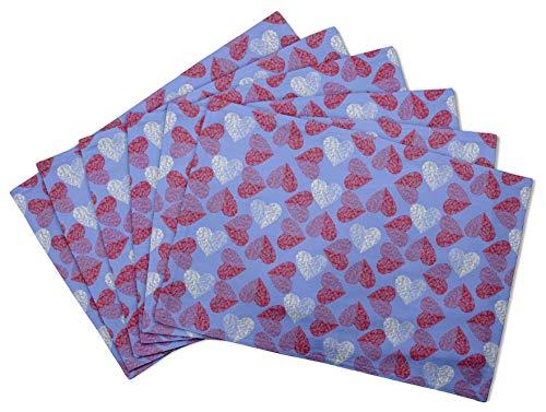 S4Sassy Azul Rojo Corazon Estera de mesa Impresa lavable Impresa Reversible mantel-12 x 18 pulgadas-4 pcs
