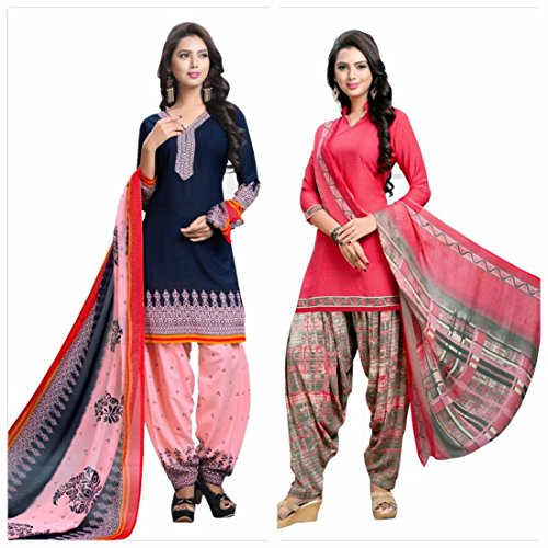 REYA Women's Crepe Printed Unstitched Salwar Suit (crepe5003-crepe5001_Pink and Blue_Free Size) -...