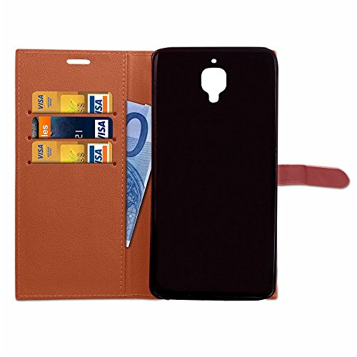 Business Style Mixed Farben Slim Design PU Ledertasche Brieftasche Stand Case [Shockproof] mit Niet Echtes Leder Gürtel & Kickstand & Card Slots für OnePlus 3 & 3T ( Color : Black ) Brown