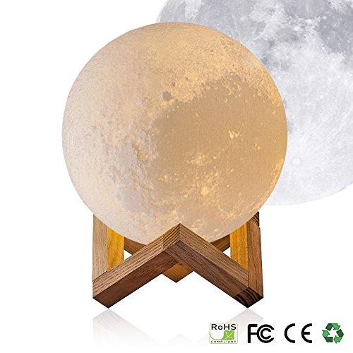 3D Kreatives Mondlicht - Evershop Weiß Mondnachtlicht Nachtlicht Moon Light Lamp Weiß/Warm-gelb Dual Licht Farbe Dimmable Touch Control für Allerheiligen / Weihnachtstag / Weihnachstag / Weihnachstag (10CM)