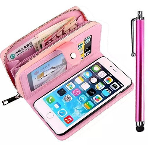 iPhone 5C Cuir Coque housse Etui,Vandot Case Cover pour iPhone 5C Fermeture Eclair Leather Money Sac Carte Bag Protection telephone Hull Cas Portefeuille + Stylet- Noir zipper Rose