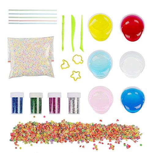 DIY Slime Kit, Togather 6 Pack Crystal Clay Schlamm mit 5000PCS Bunte Schaum Bälle, 2500PCS Obst Gesicht Dekoration, 4 Flaschen Glitzer Shaker Gläser, Magic Transparente Plasticine (Kit Machen)