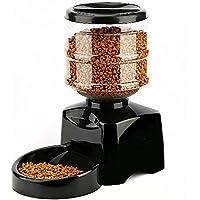 Amzdeal Comedero Automático de Alimentos para Perros, Gatos y Mascotas, Alimentador Automático 5.5L con Pantalla LCD, Función de grabación para 1-3 comidas cada día