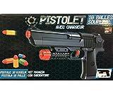 Pistolet lance balles souples en mousse longueur 24 cm - 10 munitions incluses