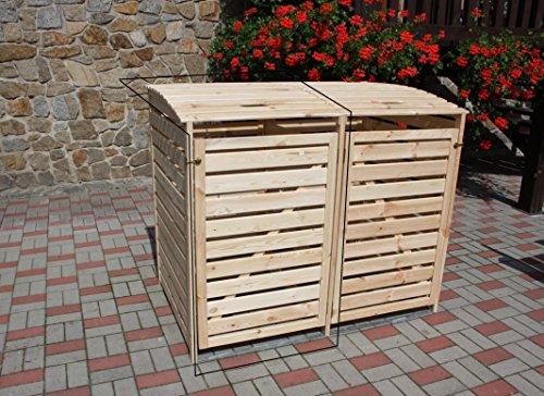 Erweiterung zu Mülltonnenbox Holz natur Verkleidung 2er Mülltonnenverkleidung