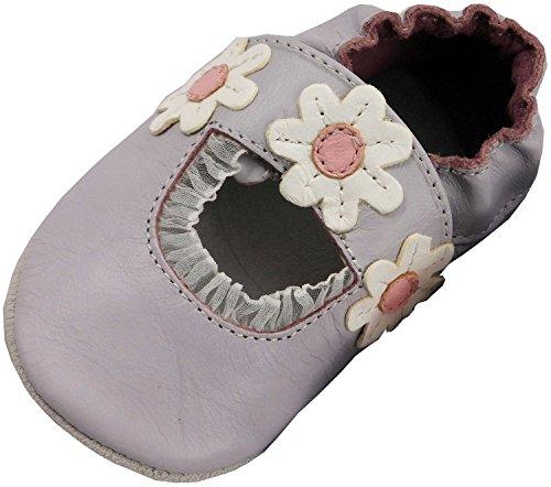 MiniFeet Premium Weich Leder babyschuhe 0-6, 6-12, 12-18, 18-24 Monate und 2-3, 3-4 Jahre Flieder Sandale
