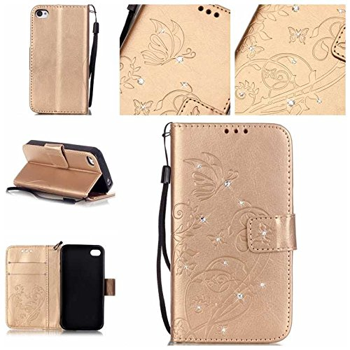 BoxTii iPhone 4 iPhone 4s Hülle [mit Frei Panzerglas Displayschutzfolie], Bling Glitter Schutzhülle, Ledertasche Handyhülle mit Kartenfächern für Apple iPhone4 / iPhone4s (#6 Champagne Gold)