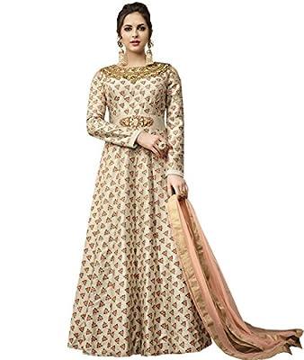 Indian Ethnic Satin Silk Beige Abaya Suit Readymade