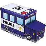 Tabouret enfant avec coffre de rangement POLICE bleu