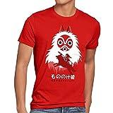 style3 Mononoke Hime Herren T-Shirt Wolf Prinzessin Anime, Größe:M;Farbe:Rot