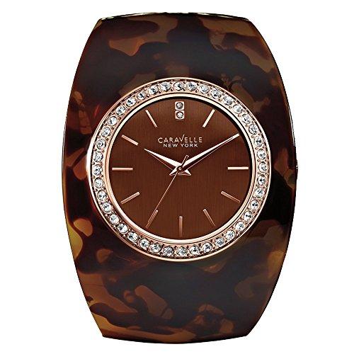 Caravelle New York 44L140 - Reloj Analógico de Cuarzo para Mujer, correa de Otros materiales color Marrón