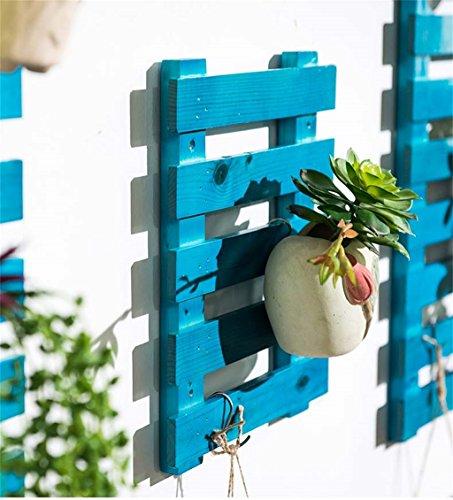 Stands extérieure Herb Plante Fleur Supports muraux Porte-bagages de fleurs Balais Bois massif Couches multiples Armoires à fleurs Salon Carrés Couches multiples Porte-pot à fleurs étagère à fleurs Utilisation intérieure et extérieure Style vintage ( Couleur : Bleu , taille : 60 cm )