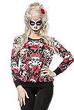Buntes Damen Totenköpfe Sweatshirt mit Totenköpfe und Rosen Print Sweatshirt Faschingsverkleidung Outfit