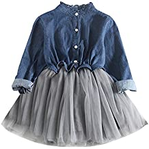 K-youth® Denim Vestidos Niña Wedding Party Birthday Dress Tutú Princesa Vestido ...