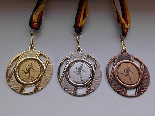 Fanshop Lünen Medaillen Set - 50mm aus Metall - Leichtathletik - Laufen - Lauf - Alu Emblem Gold, Silber, Bronze - Medaillenset - mit Emblem 25mm - Gold,Silber,Bronce - mit Medaillen-Band - (e257) -