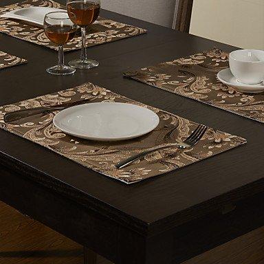 bobo Set mit 4 Gold-Spun Jacquard Floral Light Coffee Polyester Tischsets