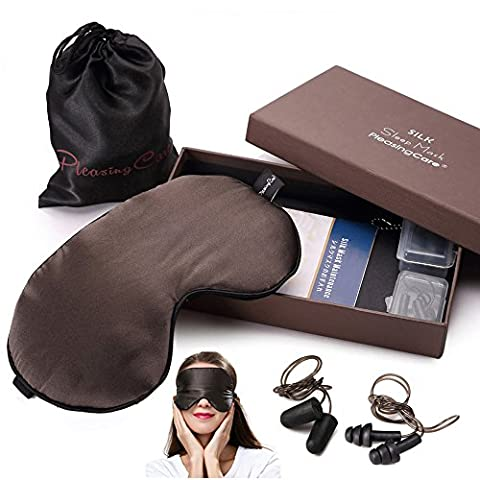 Natural Silk Sleep Eye Mask, 2 Pairs Earplugs Included, Adjustable Soft Sleeping Mask Blindfold for Men & Women, Relax or Travel Must Have! (Brown)