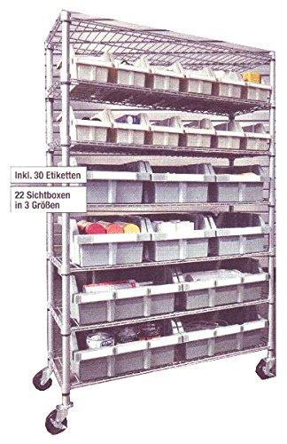 Schwerlastregal + Sichtlagerboxen + Etiketten fahrbar Lagerregal Regal Sortierboxen