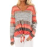 TianWlio Langarm Bluse Damen Frauen Mode Lässige Lange Mode Frauen Streifen Lässige Top T Shirt Damen Lose Langarm Top Bluse