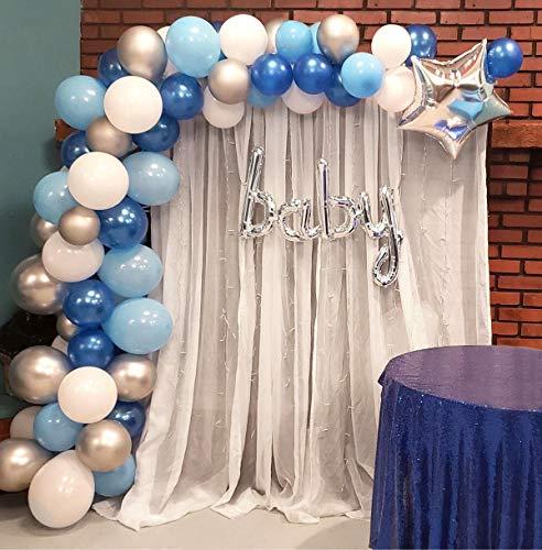 Heboland Ballon Girlande Ballonbogen Kit 5m Lange 100 Stück Blau Weiß und Silber Luftballons Set für Junge Baby Geburtstag Party Hintergrund Deko