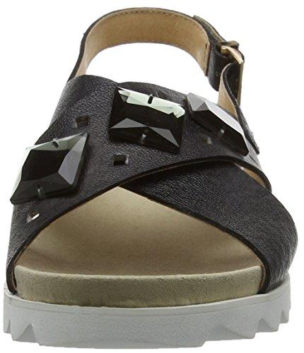 Giudecca Jycx15ab9-1, sandales ouvertes femme noir (S1-3 black and gray/gray buckle)
