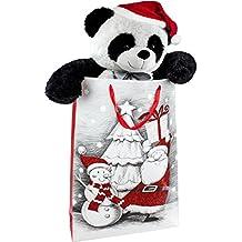 BRUBAKER Peluche gigante XXL Panda Osito 100 cm con cinta y gorra de Navidad en bolsa