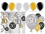 Feste Feiern Geburtstagsdeko Zum 50. Geburtstag I 24 Teile All-In-One Set Spirale Deckenhänger Luftballons Gold Schwarz Silber Party Deko Happy Birthday