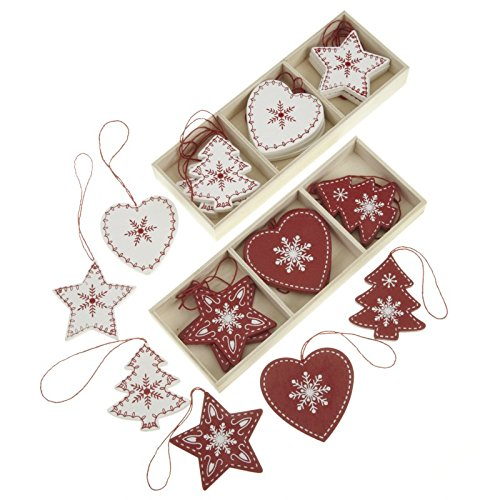 24 Red and White Wooden Traditional Christmas Tree Decorations in Heart, Tree and Star Shapes