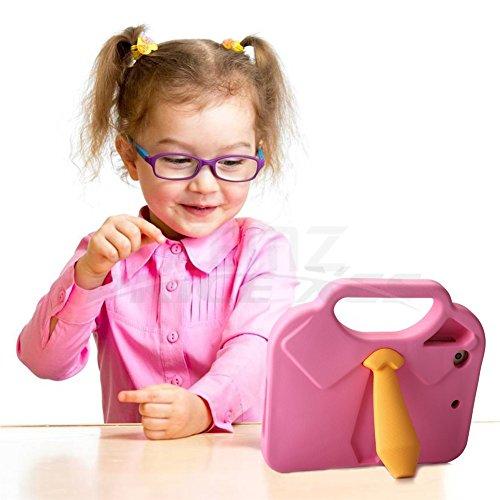 Stoßfest iPad Kids Fall, Anzug Krawatte Kinder Eco Gummi, fallgeschützt, leichtes, Anti Skid, strapazierfähigem EVA-Schaum Displayschutzfolie mit Griff, zusammenklappbarer Ständer für iPad mini 1, 2, 3, 4 (Leichtes Drei-tasten-anzug)