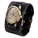 Orologi per gli uomini, Winkey stile retrò punk rock Brown Big largo bracciale in pelle polsino orologio da uomo Cool Nero