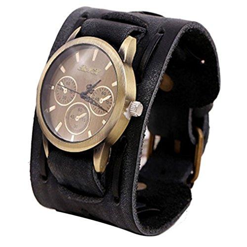 Winkley Herren-Armbanduhren im Retro-Punkrock-Stil, braun, mit großem, breitem Lederarmband, Manschetten-Stil, cool. Schwarz